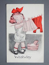 R&L Postcard: Comic, Alfred Stiebel Modern Humour, Girl Hanging Washing Clothes