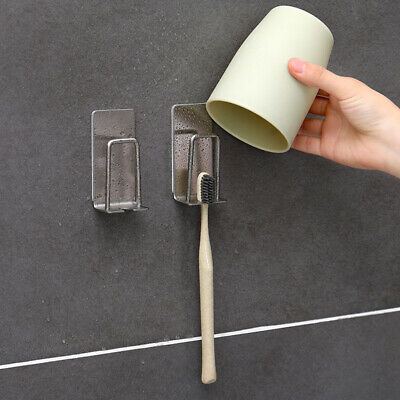 Stainless Steel Toothbrush Holder Gargle Cup Holder Hanger Adhesive Mounted Q0b9 Toothbrush Holders Home Garden