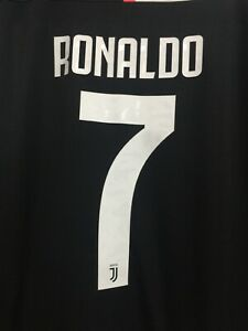 new arrival e36c5 ee03c Details about Adidas Juventus Home Jersey 2019/20 Black White Pink RONALDO  # 7 Size Large Only