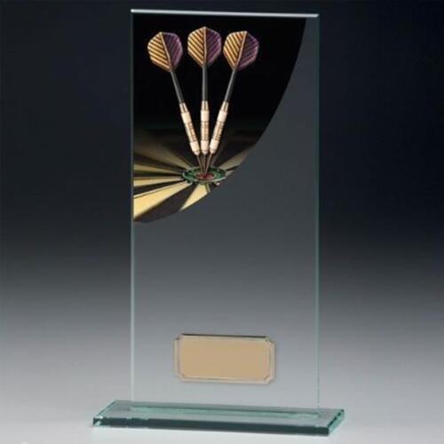 Darts Jadegrün Glas Trophy 5 mm Dick in 4 Größen Gratis Gravur bis zu 30