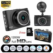 "3"" Full HD 1080P Car DVR CCTV Dash Camera G-sensor WDR Recorder + 8GB SD Card US"