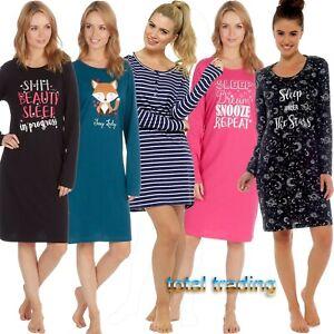 Ladies-Long-Sleeve-Night-Shirt-Nightdress-Nightie-Nightshirt-PJ-pyjamas