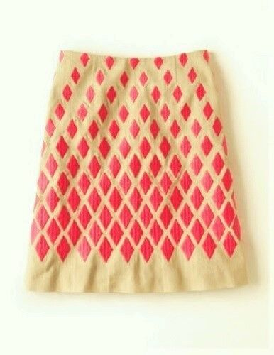 NEW BODEN COTTON BEIGE   PINK LINED FANCY EMBROIDERED A-LINE SKIRT WG529 - US 8P