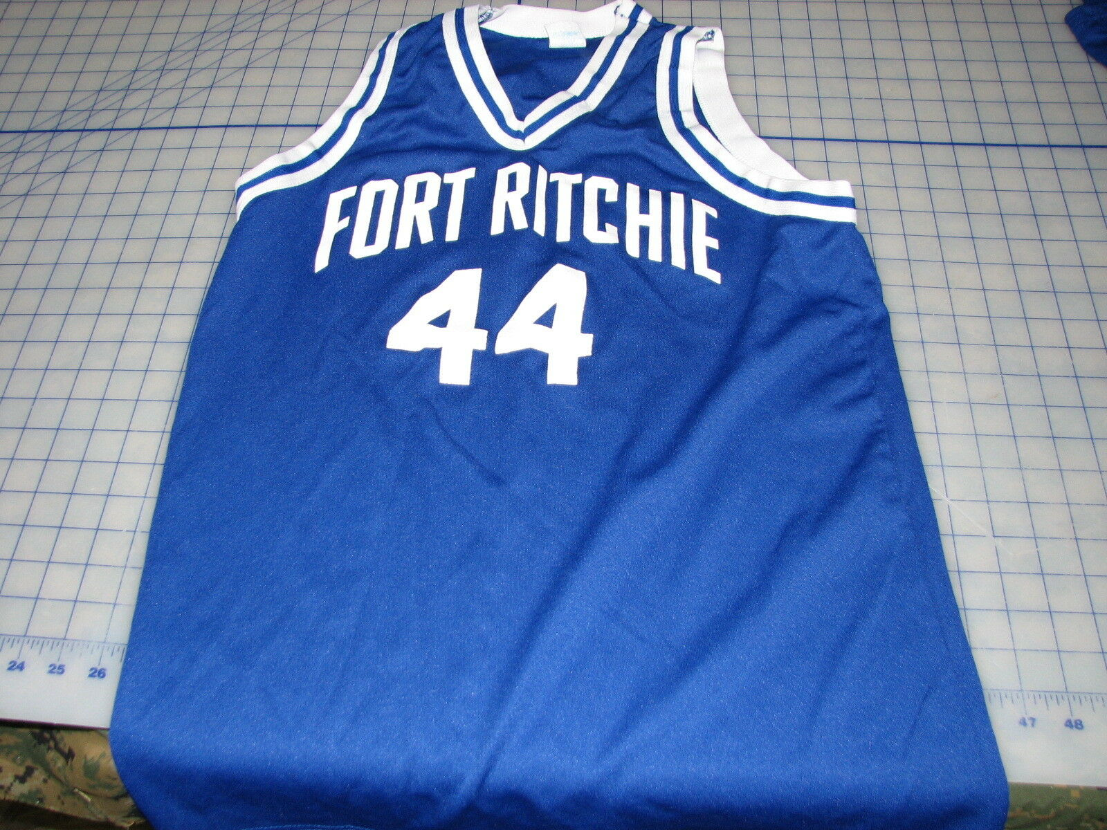 # 44 used empire sports fort ritchie jersey 100% polyester 42-44 USA blue