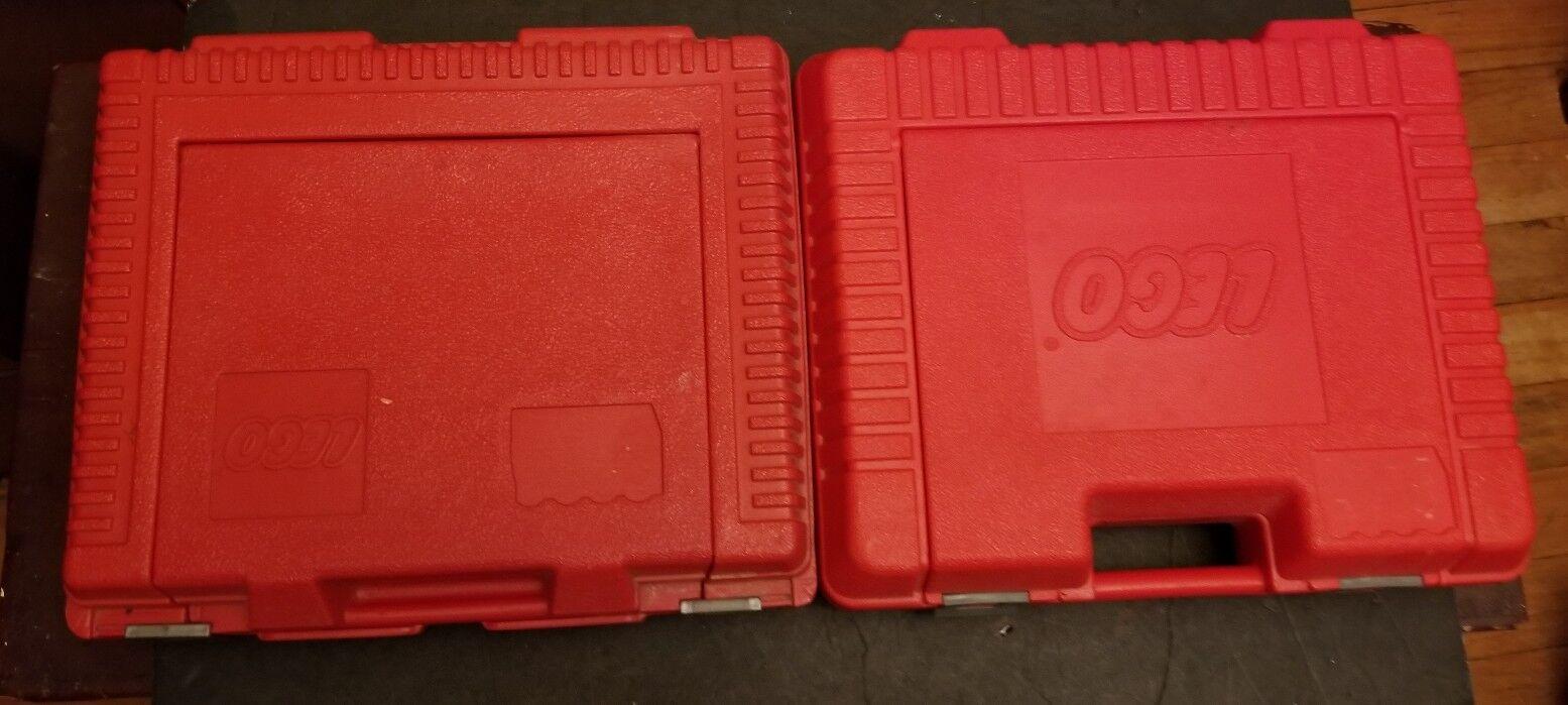 Vintage 2 LEGO Cubo De Almacenamiento Estuche Rojo Caja 1985 Buen Estado