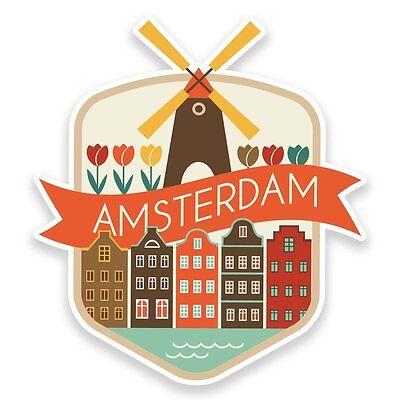 2 x Amsterdam Netherlands Vinyl Sticker Laptop Travel Luggage Car #6724