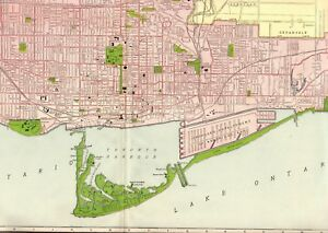 Details about 1914 Antique TORONTO Map Vintage Map of Toronto Canada Map  RARE Poster Size 2566