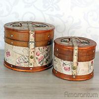 Hutkoffer 2 Grössen Hutschachtel Kiste Leder Holz Truhe Koffer Box Case Vintage