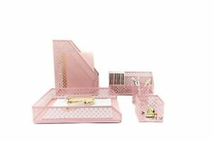 Prime Details About Pink Desk Organizer 5 Piece Accessories Set Letter Mail Sticky Note Holder Tray Download Free Architecture Designs Scobabritishbridgeorg