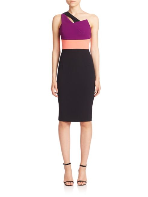 Roland Mouret Noir Couleurblock une épaule gaine robe de cocktail SZ 10 US