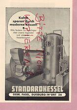 DUISBURG, Werbung 1952, Gebrüder Fasel, Standardkessel Kohle-Kessel