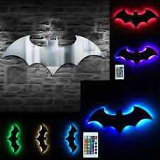 Batman Logo Mirror Wall Light Dark Knight Bat Symbol LED Lamp Gift