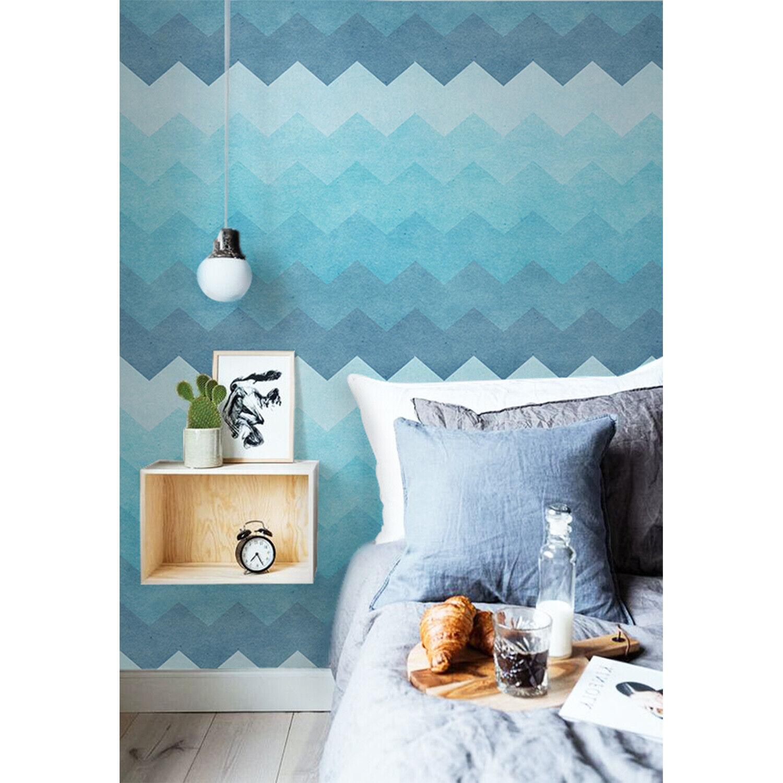Aqua zigzag Pattern Non-Woven wallpaper Weiß wall Home Mural Traditional Decor