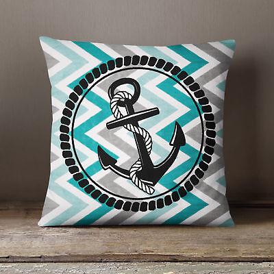 S4Sassy Mediterranean Style Ocean Anchor Print Square Pillow Throw Cushion Cover