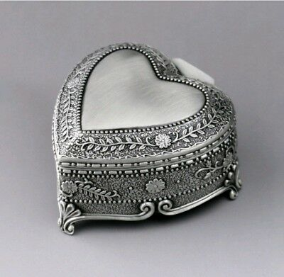 TIN ALLOY HEART SHAPE WITH FLOWERS MUSIC BOX ♫ WHAT A WONDERFUL WORLD ♫