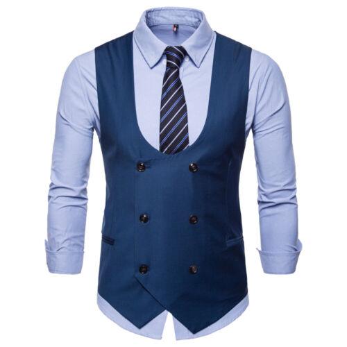 Men Formal Business Suit Vest Jacket Tuxedo Slim Double-Breasted Waistcoat Coat