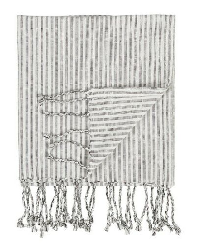 Medium Hammam Towel With Fringes White With Anthracite Pattern by Ib Laursen