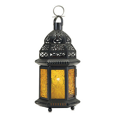 Gallery of Light - Large Yellow Glass Moroccan Lantern