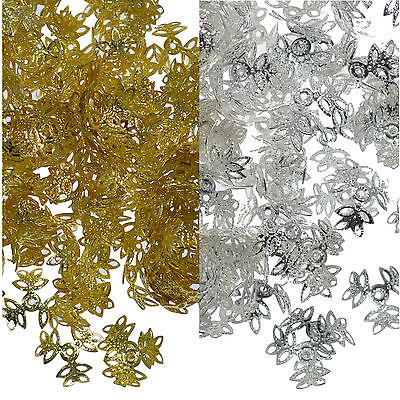 100 Bead Caps 14mm Filigree Leaf Spacer Jewellery Findings Silver or Gold Plated