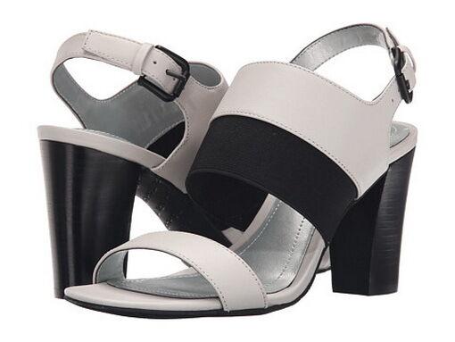 Brand New Tahari Women's Peace Spring White/Black Leather Heel sandal Sz 7.5M