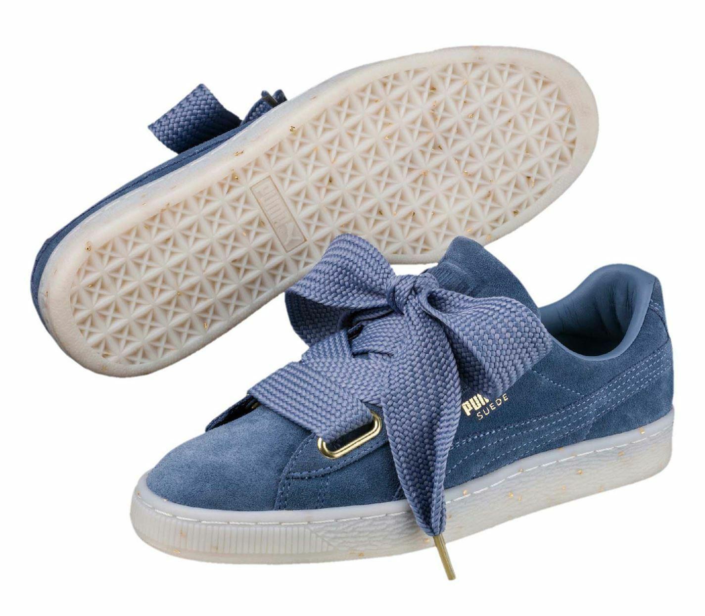 Zapatos de Mujer Gimnasia Puma ante Heart Entrenadores Azul de Piel Doble Cordón