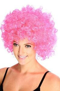 Costumes, Reenactment, Theater Pink Afro Crazy Disco Funny Funky Wig Fancy Dress Party Curly Colour 70's 80's