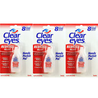 3 Pack Clear Eyes Redness Relief Pack Of 3 0.2 Fl Oz ( 6 Ml) - Handy Pocket Pack on sale