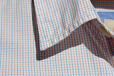 Brooks Brothers Size M Lightweight Blue and Orange Check Gentleman's Dress Shirt