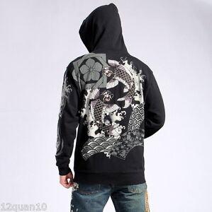 a9b93fe1 Image is loading Mens-Hoodie-Japanese-Pattern-Embroidery-Hooded-Sweatshirt- Jacket-