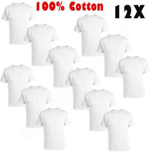 New-12-Pack-Mens-100-Cotton-Tagless-Crew-Neck-T-Shirt-Undershirt-Tee-White-S-XL
