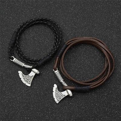 Handmade Leather Bangle Bracelet Men Pendant Viking Amulet Magic Vintage  ^