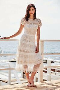Details About New Tadashi Shoji White Nude Nixie Romantic Lace Belted Tea Length Midi Dress 16