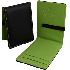Mens Money Clip Faux Leather - Black & Green Slim Wallet - Cash ID Card Holder