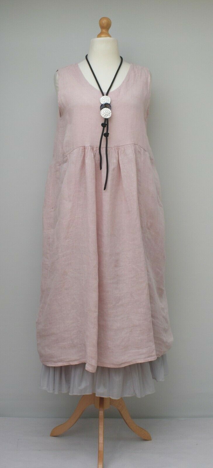 LAGENLOOK LINEN OVERSIZED PLAIN 2 POCKETS LONG DRESS**PALE PINK**BUST UP TO 46""