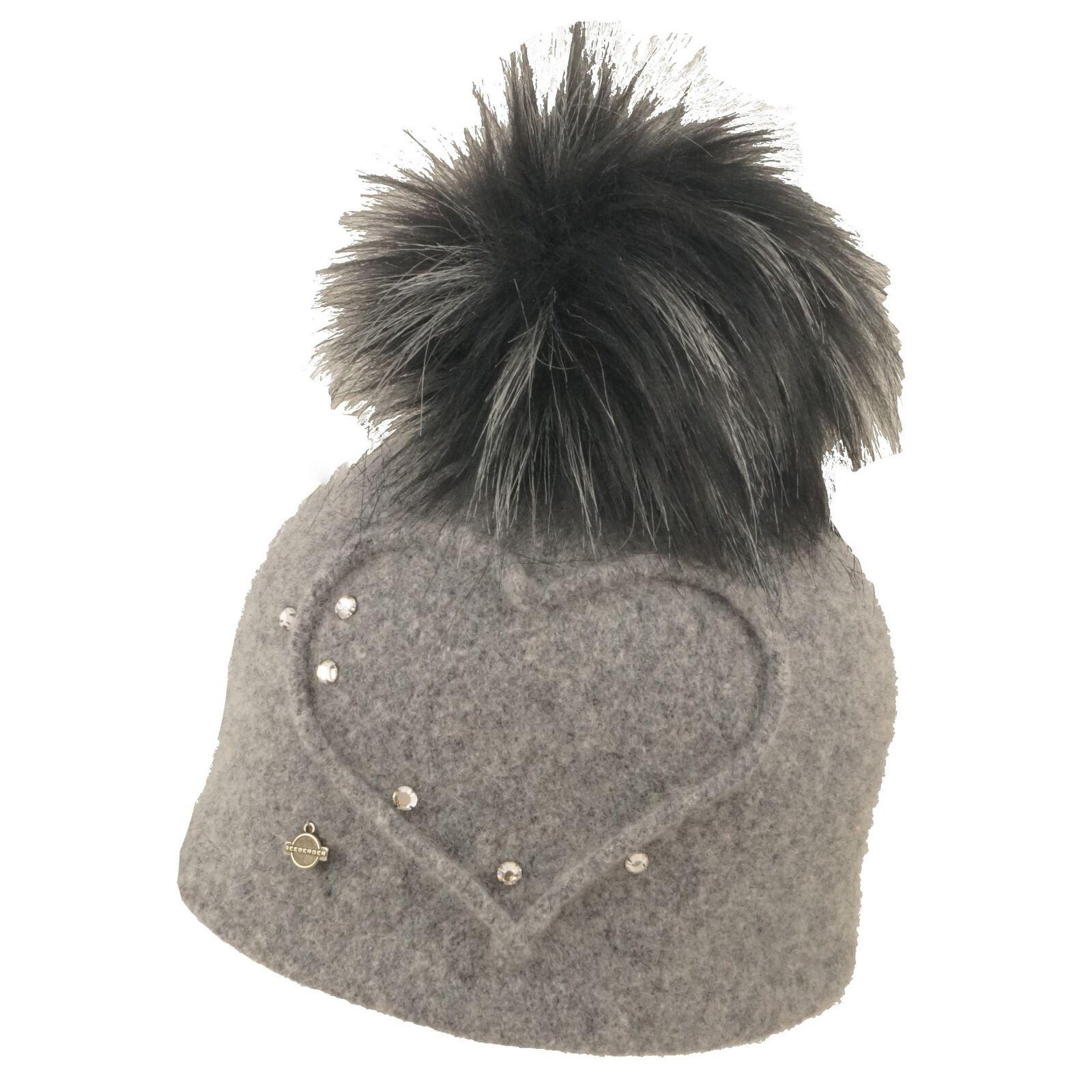 Seeberger Walkmütze Walkmütze Walkmütze Damen Pompom Wintermütze Corallia mit Kunstbommel hellgrau | Räumungsverkauf  | Bekannt für seine schöne Qualität  | Schöne Kunst  778a1e