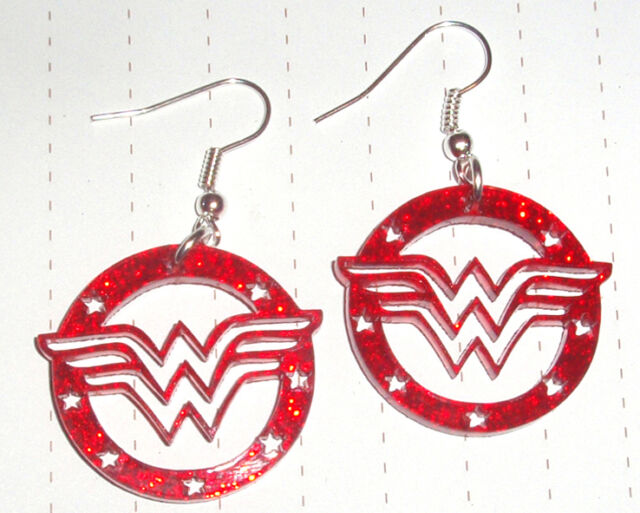80s Retro Super Hero Wonder Woman Earrings Glitter Red Kitsch Kawaii