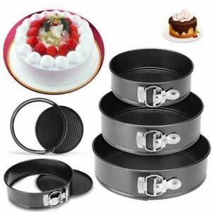 Non Stick Round Cake Tin Spring Form Loose Tray Base Baking Pan 12-28cm NEU
