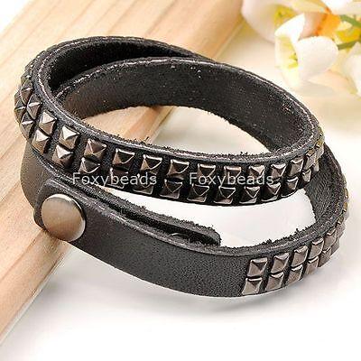 Punk Black Leather Men's Studded Bracelet Cuff Wrap Adjust Wristband Gothic