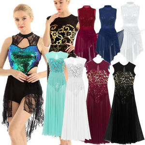 Women-Chiffon-Ballet-Leotard-Dress-Adult-Lyrical-Modern-Dance-Practice-Sequined