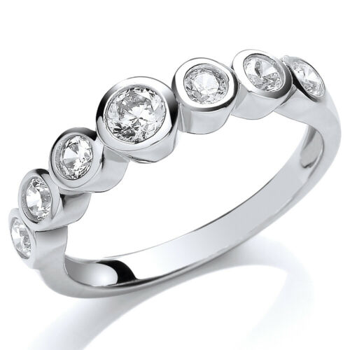 Jewelco London Rhodium Silver Round CZ Half Eternity Bubbles Engagement Ring