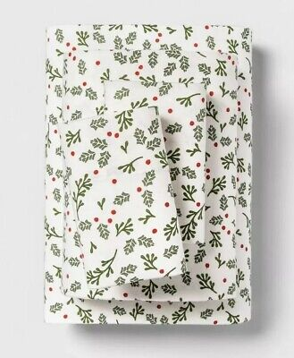 Wondershop Target 100 Cotton Flannel Sheet Set King Holiday Holly Berries New Ebay