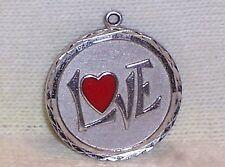 VINTAGE Sterling Silver Enamel RED HEART w LOVE Disc Charm