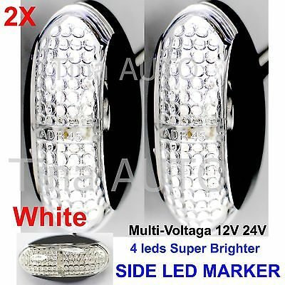 2X Multi-Volt 12V 24V White Super Bright Side LED Marker ADR E4 truck Lamp 2017