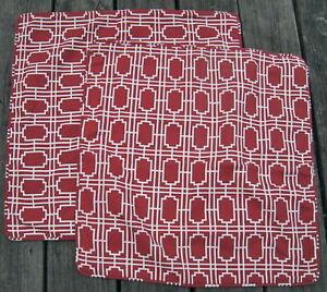 Pottery Barn Rust Red Mosaic Tile Print Linen Pillow