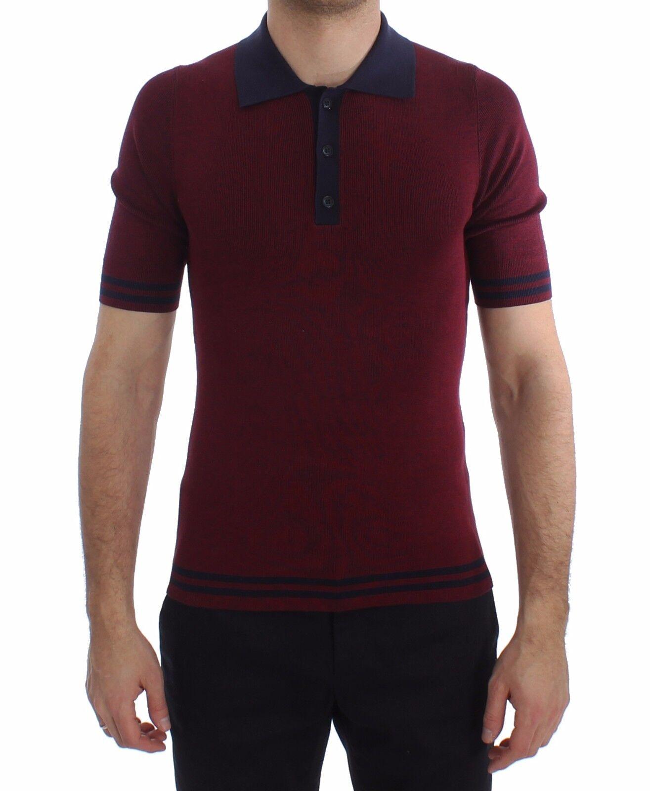 NEW DOLCE & GABBANA T-shirt Bordeaux Blau Silk Polo Top  Herren IT46/US36 / S