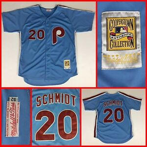 online store 05cff 0f054 Details about Philadelphia Phillies MIKE SCHMIDT Mitchell & Ness Powder  Blue SEWN Jersey XXL