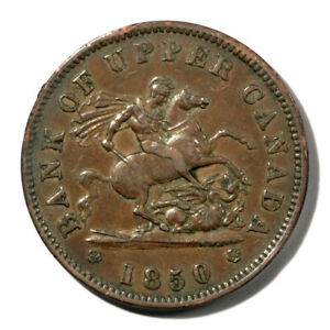 Canada Ontario -Bank of Upper Canada Penny Token 1850  XF+ KMTn3 Breton-719