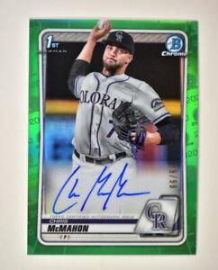 2020-Bowman-Draft-Base-Green-Auto-CDA-CMM-Chris-McMahon-99-Colorado-Rockies