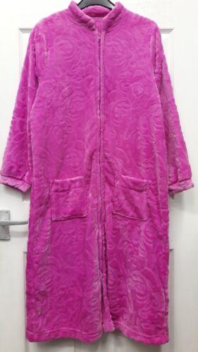 LADIES FLEECE ZIP THROUGH DRESSING GOWN//ROBE UK SIZES 10-26