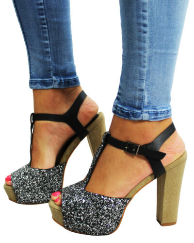 Womens High Heel Wedge Ankle Strap Platform Open Toe Sandals Party Shoes UK